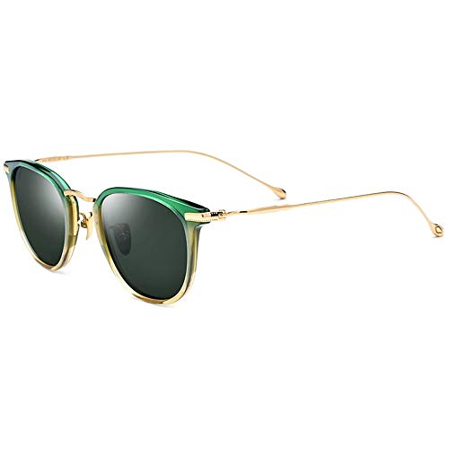 XiaoDong1 Ultralight nuevo B titanio masculino polarizado gafas de sol hembra verde gradiente marco verde oscuro lente UV400 protección