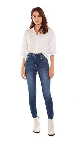 Calca Slim Cropped Isadora, Cos Alto Barra Desmanchada, Feminino, Morena Rosa Jeans, Jeans Escuro, 40