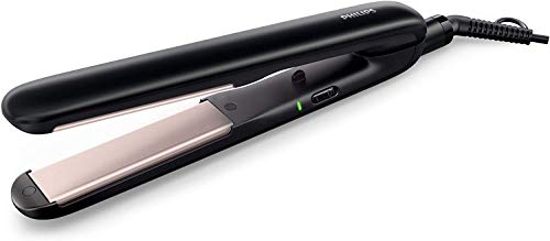Philips EssentialCare HP8321/00 - Plancha de pelo con placas de ceramica, extralargas, color negro