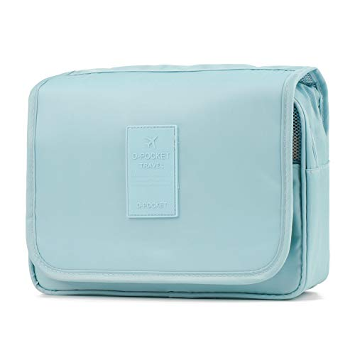 Hanging Travel Toiletry Bag Cosmetic Make up Organizer for Women and Girls Waterproof Sky Blue