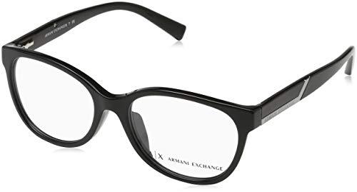 Armani Exchange AX3032F-8158-53 Schmetterling Brillengestelle 53, Schwarz