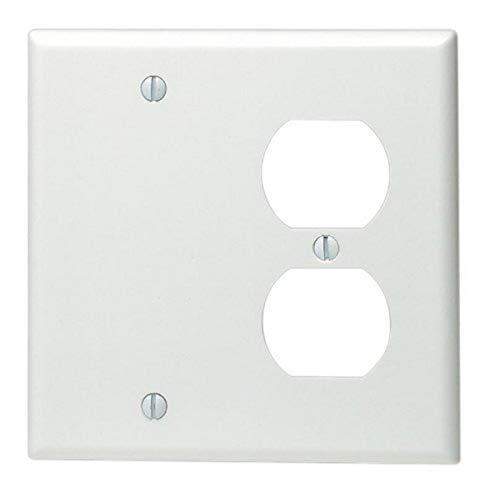 Leviton 88008 2-Gang 1-Duplex 1-Blank Device Combination Wallplate, Standard Size, Thermoset, Box Mount, White