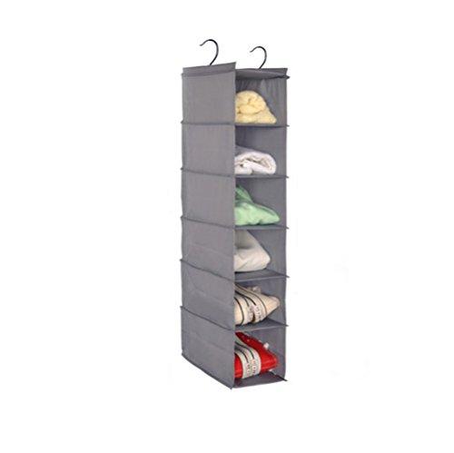 Lumanuby 1x Hängender Stoffschrank 6 Fächer Hängeschrank aus Oxford Fabric und Inner Plastik Board für Schlafzimmer für Schal Gürtel BH oder Handtuch 84 * 30 * 15cm Grau Farbe