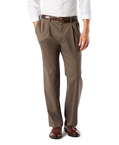 Dockers Men's Classic Fit Easy Khaki Pants - Pleated D3, Dark Pebble (Stretch), 38 32