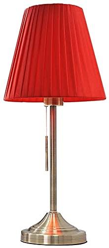 IOUYRRN Pantalla de Tela con Interruptor de Cadena de Metal, lámpara de Metal Lámpara de Noche de Base para Habitaciones, Sala de Estar, Hotel (Color: Rojo) (Color : Red)