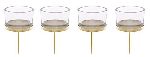 Glorex 6 7021 002 - Kerzenhalter gold, mit Teelichtglas, 4 Stück, ca. 4 x 9 cm groß, zur Gestaltung von Gestecken und Kränzen