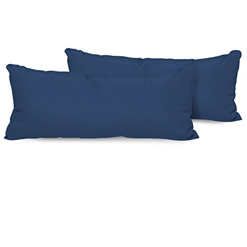 TK Classics Set of 2 Outdoor Rectangle Throw Pillows, Navy