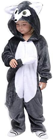 Children One Piece Sleepwear Costume Teens Pajamas Unisex Nightwear for Girl Boy Wolf 125 product image