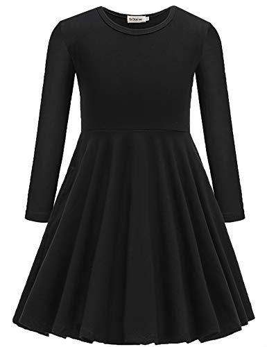 Vestido feminino TriKalor de manga curta, cor lisa, estilo patinador, casual, com bolsos, Long Sleeve-black, 10-12 Years