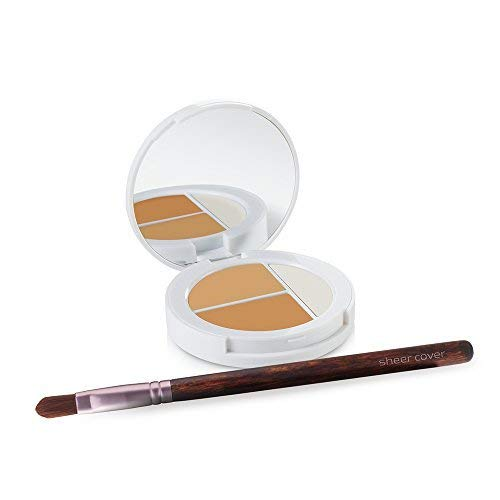 Sheer Cover Studio – Conceal and Brighten Highlight Trio – Two-Toned Concealers – Shimmering Highlighter – Medium/Tan Shade – With FREE Concealer Brush – 3 Grams