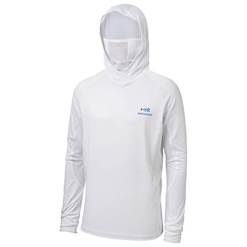 BASSDASH UPF 50+ Men's Long Sleeve Fishing Shirt with Mask UV Neck Gaiter Hoodie White