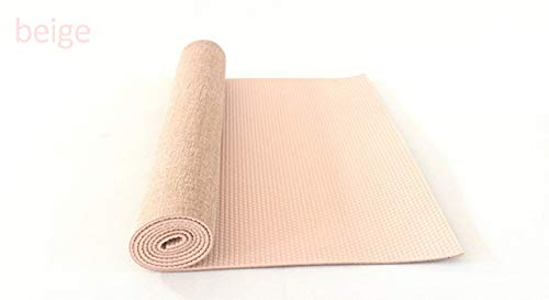 N / A Lino Suave y Grueso 5 mm 183 * 61 cm Estera de Yoga de Yute Natural Alargada Adecuada para Principiantes Estera de Yoga insípida 183x61x0.5 cm
