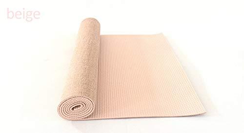 N / A Stuoia di Yoga in Juta Naturale Allungata di 5 mm 183 * 61 cm di Lino Morbido e Spesso Adatta a Principianti Stuoia di Yoga insipida 183x61x0,5 cm