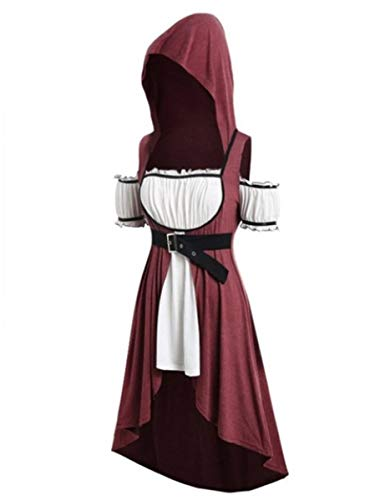 Mescara Cosplay Kostüm Damen Kurzarm Kleidung Mittelalter Retro Kleid mit Kapuze Damenkostüme Mittelalter für Renaissance Karneval Halloween Party Mittelalterkleid Große Größen (XL, Weinrot)