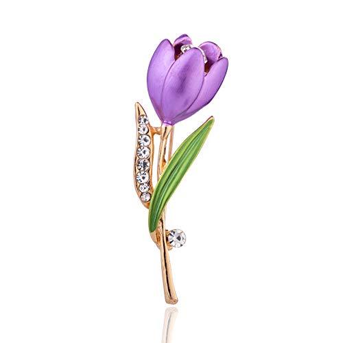 Ousyaah Broche Tulipe, Pin Broche Strass Broche Fleurs Épingles à Linge pour Femmes Lady Festival Cadeau (Violet)