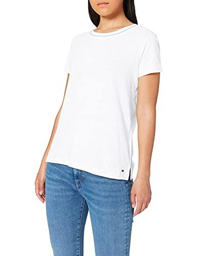 Tommy Hilfiger Ellen Round-nk Cap Slv Camiseta, Blanco (Classic White 100), X-Large para Mujer