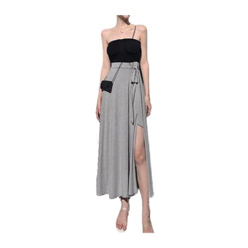 Faldas para mujer de verano con lazo sólido y abertura lateral sexy para mujer con cordones de cintura alta