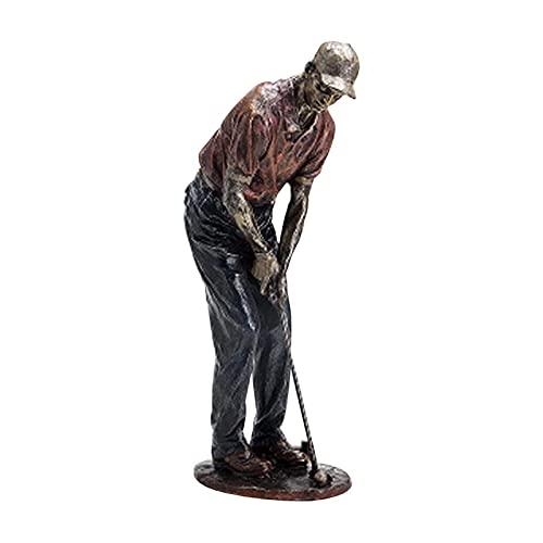 DKLsdfj Golfer Beeldje, Golf Genius Sculptuur Golfer Decor,Vintage Decoratieve Hars Ornament voor Thuis Plank Kantoor 33/38cm C