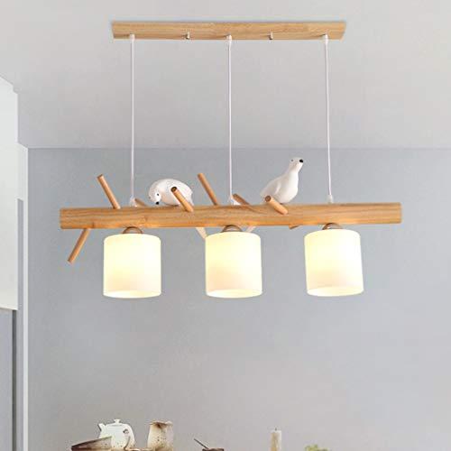 E27 Hängeleuchte Pendelleuchte Holz Kronleuchter Hängelampe Glas Lampenschirm Restaurant Lampe Kreative Vogel Licht Wohnzimmer Bar Restaurant Beleuchtung Deckenleuchte Dekoration Flurlampe,3heads