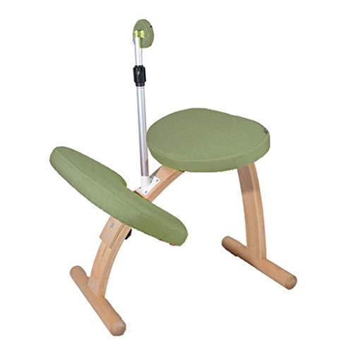 LEILEI Kniestühle Kinderkorrekturstuhl Ergonomischer Bürokorrektionsstuhl,kann angehoben und abgesenkt werden (Farbe:Grün,Größe:62 * 42,5 * 54 cm)