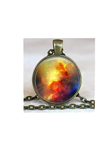 Orange red, moon necklace, full moon, blood moon, planet pendant, harvest