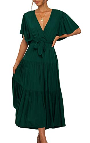 Women's Wrap V Neck Belted Waist Flowy Solid Color Short Sleeve Pleated Maxi Dress Green Small