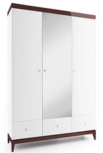 Casa Padrino Kleiderschrank Weiß/Hochglanz Braun 171,4 x 60 x H. 205 cm - Massivholz Schlafzimmerschrank mit Spiegel - Schlafzimmermöbel