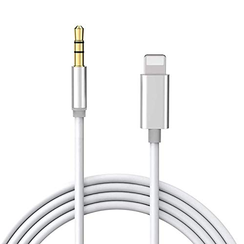 AUX-Kabel für iPhone 3,5 mm Kfz-Audiokabel für Stereo/Kopfhörer/Auto-Stereo/Lautsprecher/Adapter, kompatibel mit iPhone 11/11 Pro/XS Max/XR/8/8 P/7/7 P, unterstützt alle iOS (3,3 ft) weiß