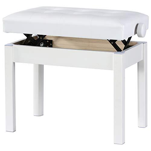 Doubleblack Piano Klavier Hocker Hoehenverstellbar Klavierbank Kunstleder Klavierbank Keyboard Stuhl Massivholzfüße Weiß