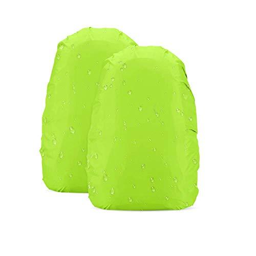 AGPTEK Lot de 2 housses en nylon étanche pour sac à dos randonnée/camping/voyages/activités de plein air, Vert(Jaune fluo), L: 41-55L