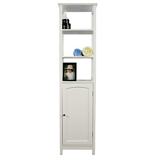 Etnicart Kolomkast, badkamer, ruimtebesparend, wit, hout, MDF, 40 x 32 x 160 cm, multifunctionele badkamermeubels, 5 planken, 1 deur, kast, anti-schimmelcontainer voor de ingang van de woonkamer