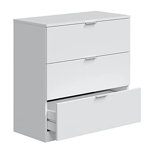 Comoda 3 Cajones, Dormitorio, Modelo LowCost, Acabado en Color Blanco Artik, Medidas: 77 cm (Ancho) x 80 cm (Alto) x 38 cm (Fondo)