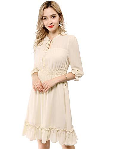 Allegra K Women's Ruffle Hem 3/4 Sleeve A-Line Smocked Short Chiffon Dress Beige M (US 10)