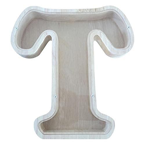 KUGF Hucha de madera para cereales, diseño de cartas, muñeco y cereales, ideal como regalo para niños y niñas