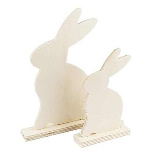 Deko-Hasen aus Holz | In zwei verschiedenen Größen | 2 Stück