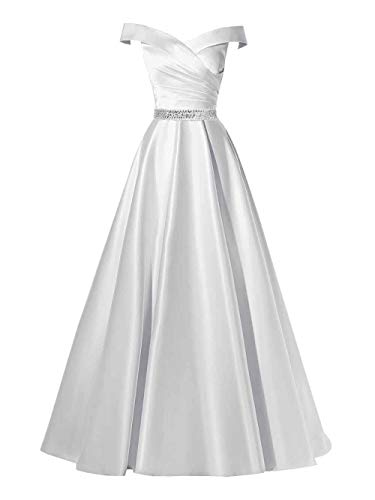 Changuan Women's Off Shoulder A-line Beaded Satin Evening Dress Long Formal Ball Gown with Pockets White with Beads-22