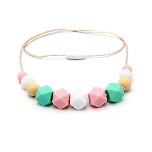 Collar de Lactancia Mordedor de Silicona Antibacteriana Para Dentición PINK MINT