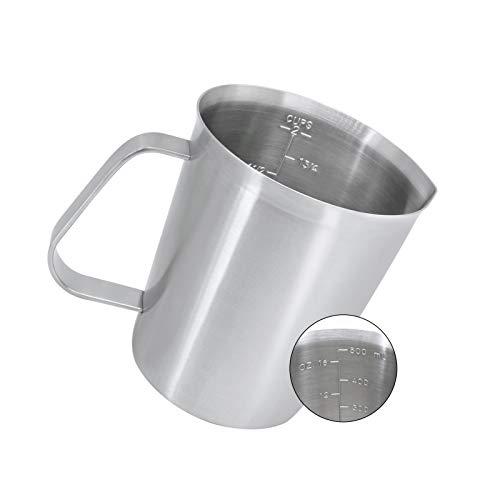 YYP Caraffa Graduata [3 Scale di Misura, tra Cui Tazza, ML, FL OZ Scala] 304 Acciaio Inossidabile Misurare la Pentola Adatto per Latte caffè Cocktail 500 ML (16 FL OZ/ 2 Cups)