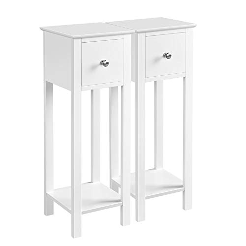 Costoffs Bedside Tables Set of 2 Nightstand with 1 Drawer, Slim Tall Telephone Table Narrow Hallway Side Table, Wooden, White, 25 x 25 x 70 cm