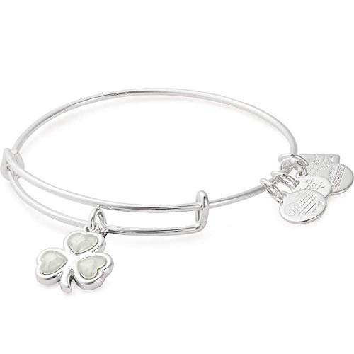 Alex and Ani Path of Symbols Expandable Bangle for Women, Crystal Shamrock Charm, Shiny Silver Finish, 2 to 3.5 in