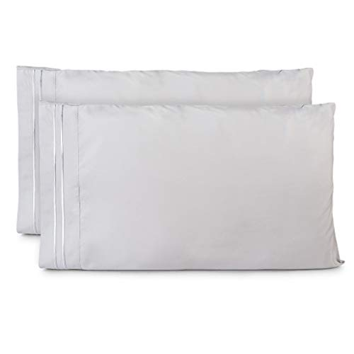 Cosy House Collection Pillowcases Standard Size - Silver Luxury Pillow Case Set of 2 - Fits Queen Size Pillows - Premium Super Soft Hotel Quality - Cool & Wrinkle Free - Hypoallergenic
