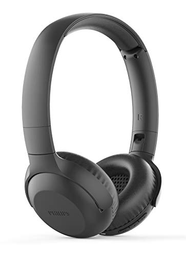 Philips UpBeat TAUH202BK Wireless Bluetooth 5.0 On-Ear Headphones with 15 Hour Play Time, 32 mm Drivers, Lightweight Flat-Folding Design, Built-in Mic with Echo Cancellation (Black)