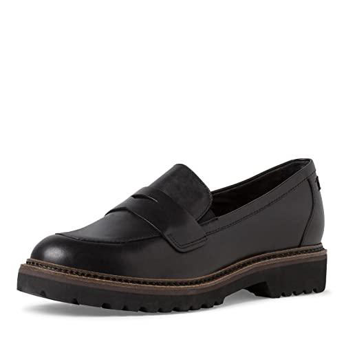 Tamaris Damen Slipper, Frauen Slipper,TOUCHit-Fußbett,Loafer,College,Schuhe,Businessschuhe,Slip-ons,Slipper,Mokassins,Black Leather,41 EU / 7.5 UK