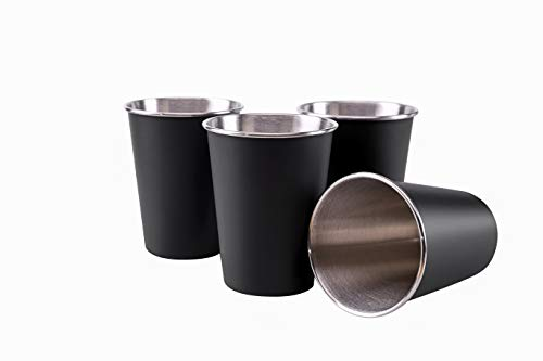 TDGOM 4 Pack 12oz Stainless Steel Cups Shatterproof Pint Drinking Cups Metal Drinking Glasses for Kids and Adults Picnic cups Black 350ml/12oz