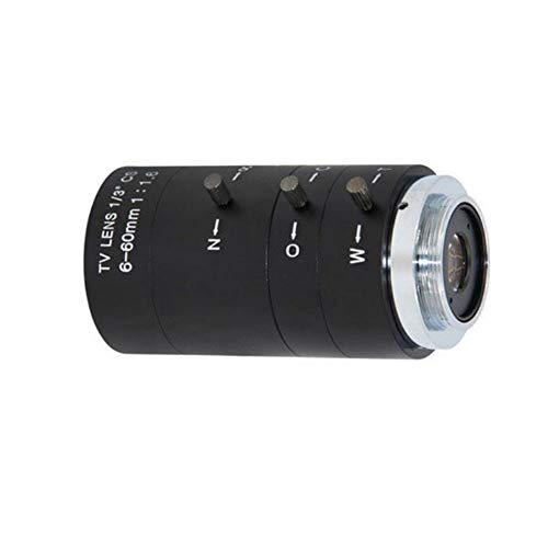 Festnight CS C Mount Objektiv, 6-60 mm F1.6 Handbuch IRIS ZOOM Varifocal für CCTV Kamera Industrielles Mikroskop