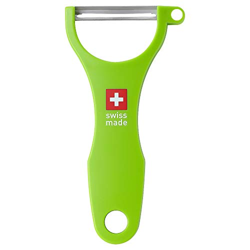 FINESKY Original Swiss Made Classic Straight Peeler with Scalpel blades for peeling hard fruits and veggies such as apples Carrots potatoes hard cheeses and chocolate Straight Peeler-Green