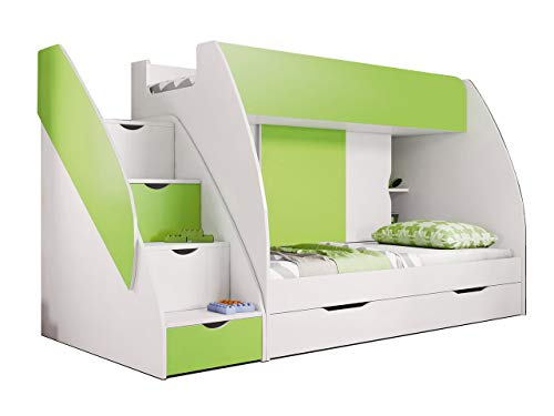 Idzczak Meble Hochbett Martin, Modern Kinderzimmer Etagenbett, Doppelstockbett mit Bettkasten, Schublade, Jugendzimmmer Bett (Weiß + Limette)
