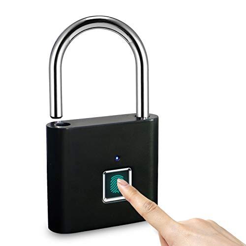 Landye Fingerprint Padlock | Waterproof 180 amh Smart Thumbprint Padlock | Biometric Fingerprint Door Lock | Anti-Theft Portable USB Rechargeable Electronic Keyless Gym Locker | Black