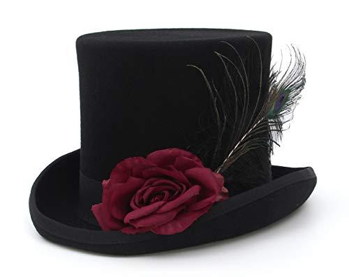 EOZY Zylinder Filzhut schwarz Damen und Herren Wollfilzhut Steampunk Chapeau Partyhut Hut Umfang 60-62cm