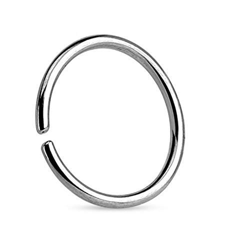 925 Silver Nose Ring Hoop Cartilage Tragus (1mm x 8mm)